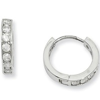 Rhodium Plated CZ Huggy Earrings by Kelly Waters
