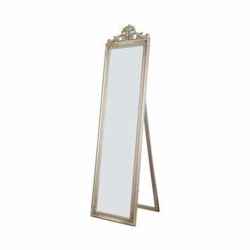 Gisela Full Length Standing Mirror with Decorative Design, Champagne