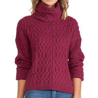 KNITZ by For Love & Lemons Snow Day Turtle Neck in Wine