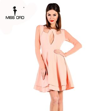 Free Shipping Missord 2018 Sexy o-necked long-sleeve draped backless tight dress party dress FT3907
