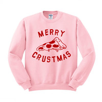 Merry Crustmas Pizza (Red) Crewneck Sweatshirt