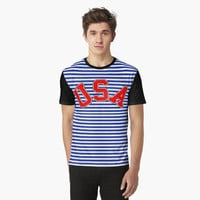 Trendy Breton Stripes with USA Red White and Blue by Greenbaby
