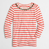 Factory embellished three-quarter-sleeve top