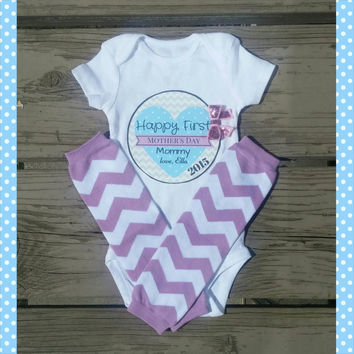 First Mother's Day Onesuit Set - Mother's Day Onesuit - I love Mommy - Happy Mother's Day - Bodysuit - Leg Warmer - Purple Aqua Teal - Chevron