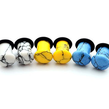 Set of 3 Pairs Single Flare Stone Plugs - 4g - 5mm - (Howlite, Yellow Howlite, Turquoise)