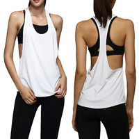 Women Tank Tops Dry Quick Yoga Shirts Loose Gym Fitness Sport Sleeveless Vest Singlet Running Training Tops