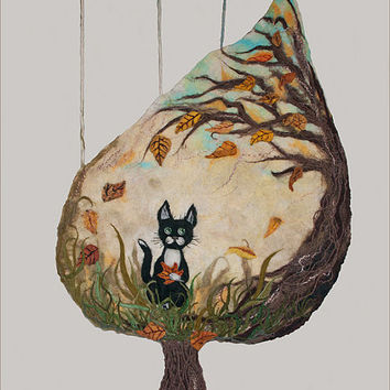 Wool Felt Wall Panel Black Cat Sitting In The Grass Among The Fallen Autumn Leaves