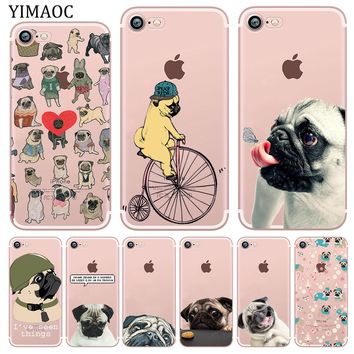 YIMAOC Pug seen things dog Ride butterfly Soft Silicone Phone Case for iPhone X XS Max XR 5 5S SE 6 6S 7 8 Plus 10 TPU Cover