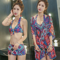 High Quality Brand Women's Swimwear Sexy Halter Swimsuit 3pcs/set Vintage Summer Swim Wear 2017 Hot Female Ladies Bathing Suit
