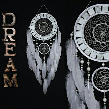 Dreamcatcher silver Dreamcatcher mosaic wall native american Large gray Dreamcatchers boho Indian talisman gift wall hanging boho gray decor