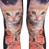 Legging with Galaxy Cat and Roses Print