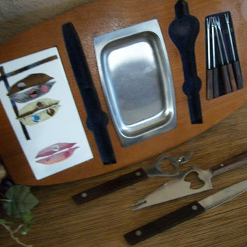 Home Bar Tools Vintage 1960's  Ceramic Cutting Board Stainless Steel Utensils Knives Bottle Opener Cocktail Forks Relish Condiments Dish