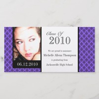Purple Damask Graduation Announcement Photo Cards