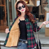 Women Autumn Winter Warm Blouses Tops Blusa Camisa Femininas Cotton Long-sleeve Thick Velvet Plaid Shirt Flannel Shirts Plus XXL