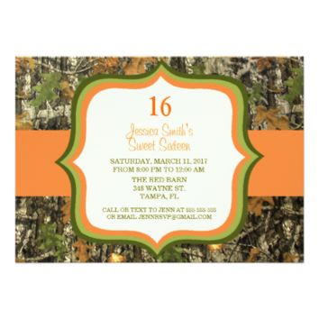 Rustic Sweet Sixteen Camo Birthday Invitation 5
