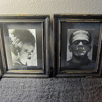 Frankenstein and Bride Framed Art Picture - Horror Gothic Monster Home Decor