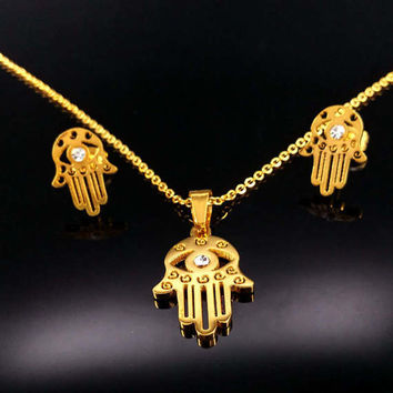 Stainless Steel Fatima Hand Jewelry Sets Women Gift Gold Plated Hamsa Statement Necklaces Earrings Turkish Jewelry Set