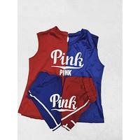 Victoria Pink Fashion New Letter Print Casual Shorts Women Top And Shorts Two Piece Suit