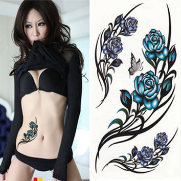 1pcs Blossom Floral Stickers For Body Waterproof Temporary Tattoos Female Transferable Flower Stickers Fake Tattoos Metallic