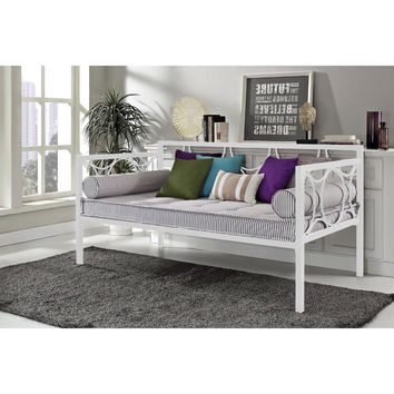 Twin size Modern White Metal Daybed with Circular Motifs Detailing