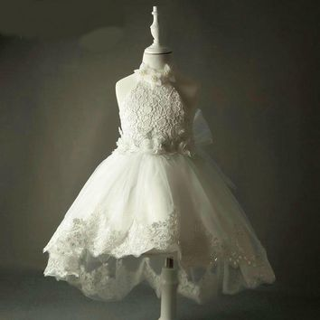 Lace Flower Girl Dresses For Weddings Halter Kids Dress Ball Gown Pearl Dress High front low back
