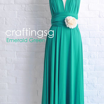 Bridesmaid Dress Infinity Dress Emerald Green Floor Length Wrap Convertible Dress Wedding Dress