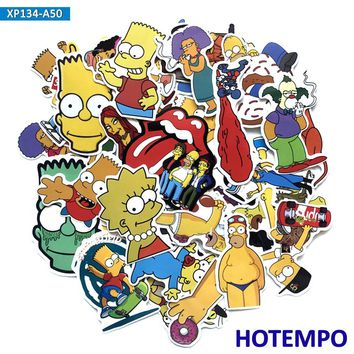 50 pcs Simpson Cute Cartoon Mixed Stickers for Laptop Luggage Skateboard Motorcycle Decal Stickers
