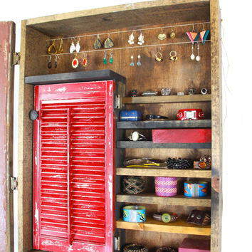 Rustic Red Wall Mounted Jewelry Display..... Handmade by TangleandFold