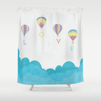 hot air balloon.. LOVE...  Shower Curtain by studiomarshallarts