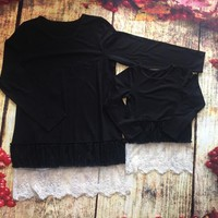 Preorder- Mommy and me Black Tunic Lace Top