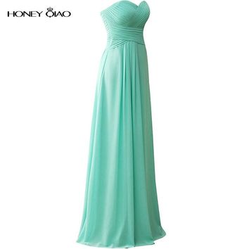 Honey Qiao Mismatched Bridesmaid Dresses Mint Green Chiffon Long Sheath 2016 Off the shoulder Sleeveless Pleat Corset Prom Gowns
