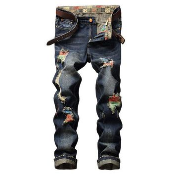 Stylish Biker Cotton Washed Holes Frayed Straight Jeans for Men