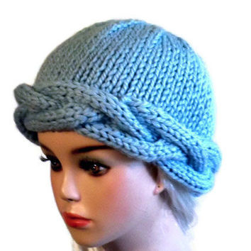 Knit Braided Hat Women Blue