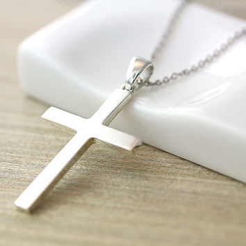 Sterling Silver Simple Cross Pendant Necklace Women's Classic Jewelry