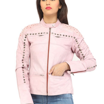 Women Casual distress Look Rivet Jacket
