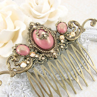 Victorian Hair Comb - Swarovski Crystal Antique Style Hair Comb - Victorian Wedding Hair Accessories - Dusty Pink and Bronze Hair Jewelry