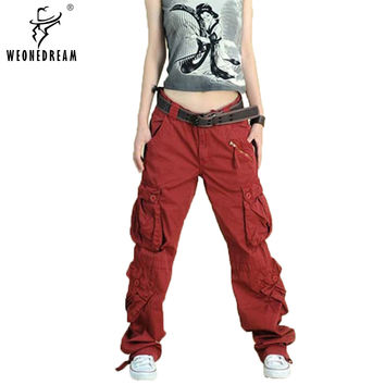 New Arrive 2016 Plus Size  5colors Cargo Pants Women's Overall,Hip Hop Loose Jeans Baggy Pants For Women