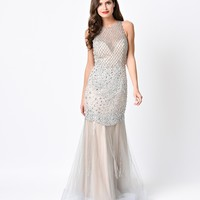 1930s Style Silver & Nude Diamond Beaded Tulle Mermaid Gown