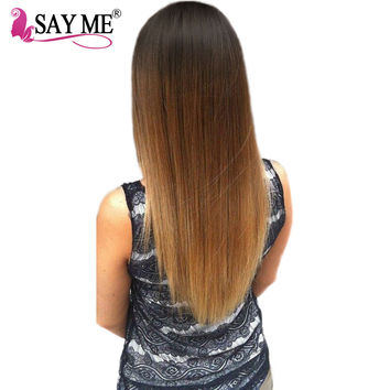 SAY ME Ombre Peruvian Straight Hair Bundles Deal T1b/4/27 Human Hair Weave Extensions 3 Three Tone Non Remy Blonde Hair Weft