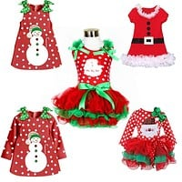 New Year Baby First Christmas Santa Dress For Girls Winter Snowman Holiday Children Clothing Christmas Party Tulle Kids Costume