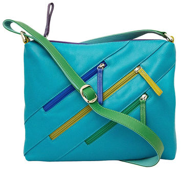 Leather Crossbody Bag with 3 Zippers - Cool Tropics