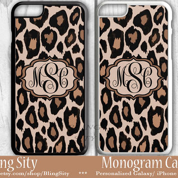 Monogram Leopard iPhone 6S Case 6 Plus iPhone 5s 5C 4 case Ipod Tough Cover Custom Cheetah Animal Print Pattern Personalized