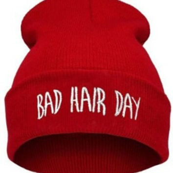 Winter Beanie Womens & Mens Bad Hair Day Knitted Red & White Cuffed Skully Hat