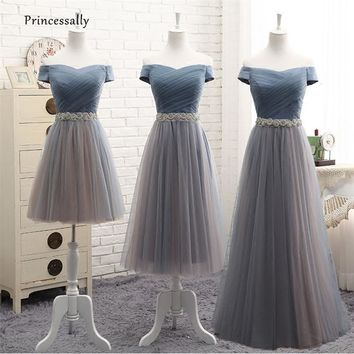 Robe De Soriee New Dusty Blue Bridesmaid Dresses Floor-length Cap Sleeve Beading Pleat A-line Elegant Bride Wedding Prom Gown