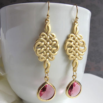 Endless Love Infinity Nobility. Matte Gold Rope Knot Chandelier Ruby Drop Earrings. Modern Bridesmaid Bridal Wedding Jewelry Accessory