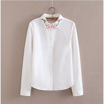White Blouse Women Work Wear Button Up Lace Turn Down Collar Long Sleeve Cotton Top Shirt Plus Size S-XXL blusas feminina