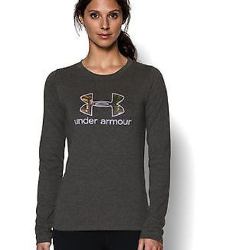 Under Armour Womens UA Camo Logo Long Sleeve Medium Carbon Heather