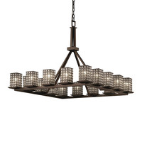Justice Design Group WGL-8615-15-GRCB-DBRZ Wire Glass Dark Bronze 16-Light Flat Rim Square Ring Chandelier with Grid Clear Bubbles Glass