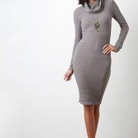 Rib Knit Turtleneck Long Sleeve Dress