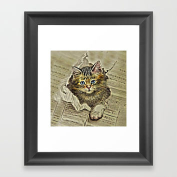 VINTAGE KITTEN DRAWING PRINT Framed Art Print by Digital Effects
